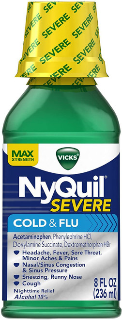 Vicks NyQuil Severe Cough Cold and Flu Nighttime Relief, Original Liquid, 8 Fluid Ounce