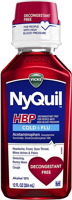 Vicks NyQuil, Cough, Cold & Flu Relief for High Blood Pressure, Sore Throat, Fever, and Cough Relief, Decongestant Free, 12 FL OZ