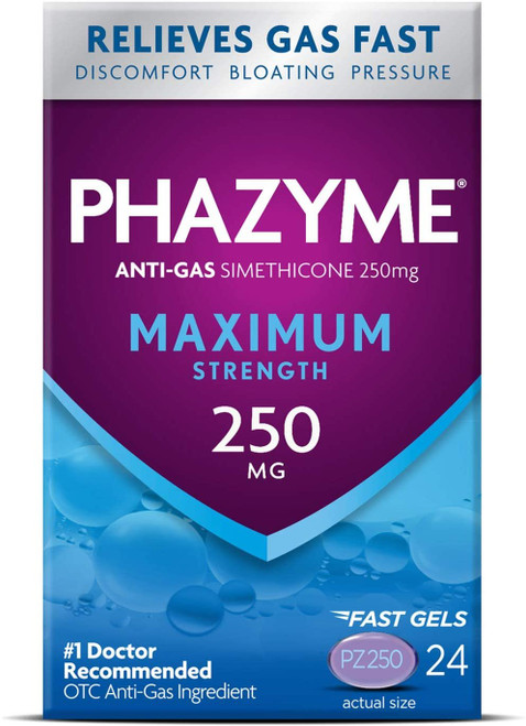 Phazyme Maximum Strength Gas & Bloating Relief, Works in Minutes, 24 Fast Gels