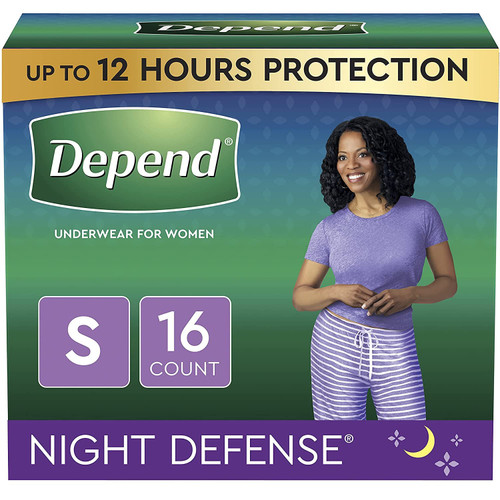 Depend Night Defense Incontinence Underwear for Women, Disposable, Overnight, Small, Blush, 16 Count
