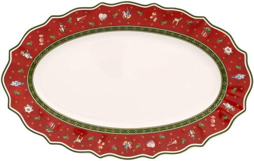 Villeroy & Boch Serving Dish, Porcelain, Multi-Colour, 38 x 23.5 x 0.1 cm, Red, Oval