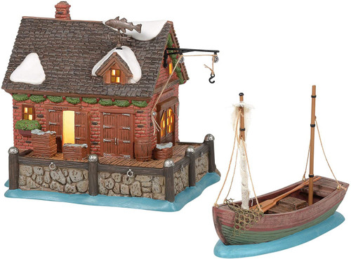 Department 56 Dickens Village West India Docks and Boat Lit Building and Figurine Set, 6.22 Inch, Multicolor