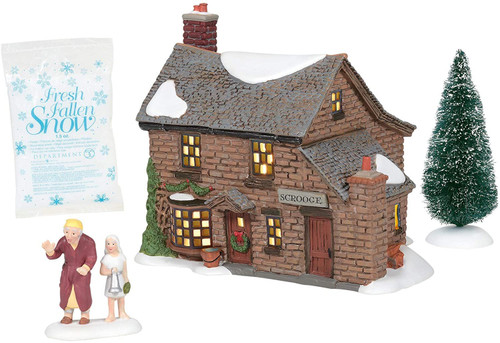 Department 56 Dickens Christmas Carol Village Scrooge's Boyhood Home House Lit Building and Accessories Boxed Set, 5.91 Inch, Multicolor