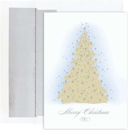 """Masterpiece Studios Holiday Collection 16-Count Christmas Cards with Foil Lined Envelopes, Frosted Tree, 5.62"""" x 7.87, 823300"""