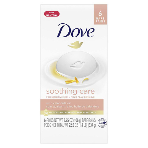 Dove Soothing Care Moisturizing Beauty Bar For Sensitive Skin with Calendula Oil Effectively Washes Away Bacteria, Hydrating and Replenishing Skin Care 3.75 oz 6 Bars