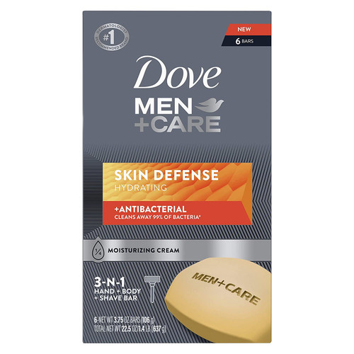 Dove Men+Care Soap Bar For Smooth, Hydrate & Nourishing the Skin - Defense Effectively Washes Away Bacteria, Cream, 3.75 Oz, 6 Count