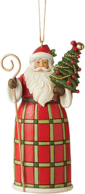 Enesco Jim Shore Country Living Santa with Christmas Tree Hanging Ornament, 1 in H x 1 in W x 1 in L, Multicolor