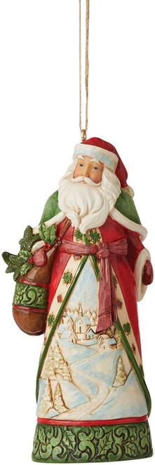 Enesco Jim Shore Heartwood Creek Santa with Winter Scene Hanging Ornament, Multicolor