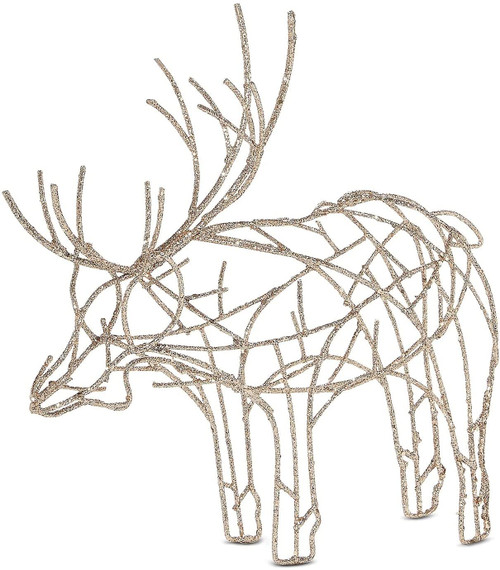 Martha Stewart Collection Gilded Age Glittered Wire Moose Decoration