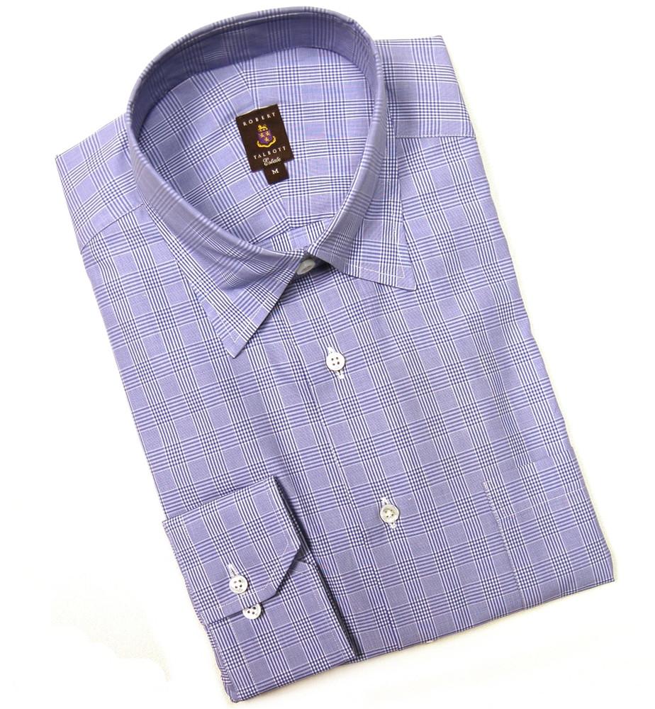 Blue and White Check Estate Sport Shirt (Size Medium) by Robert Talbott