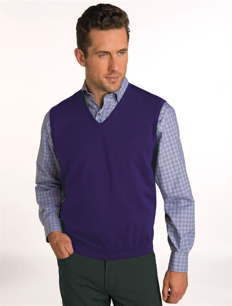 Classic Merino Wool Pullover Vest in Mercury by St. Croix