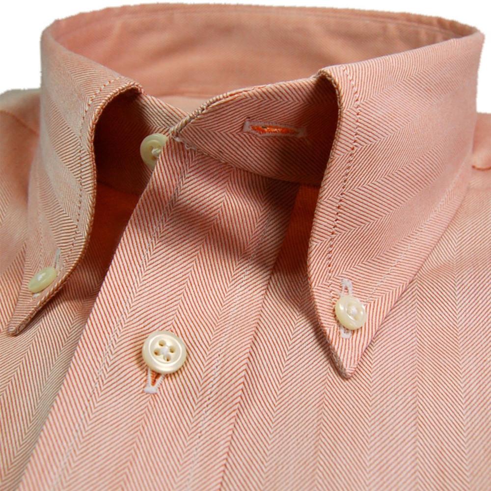 'Gitman Gold' Orange and White Herringbone Dress Shirt by Gitman Brothers