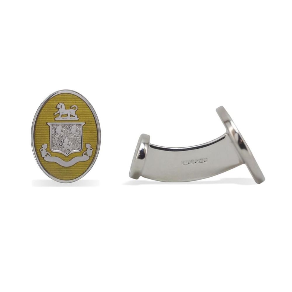 'Oval Enamel Crest' Sterling Silver Cufflinks in Mustard by Robert Talbott