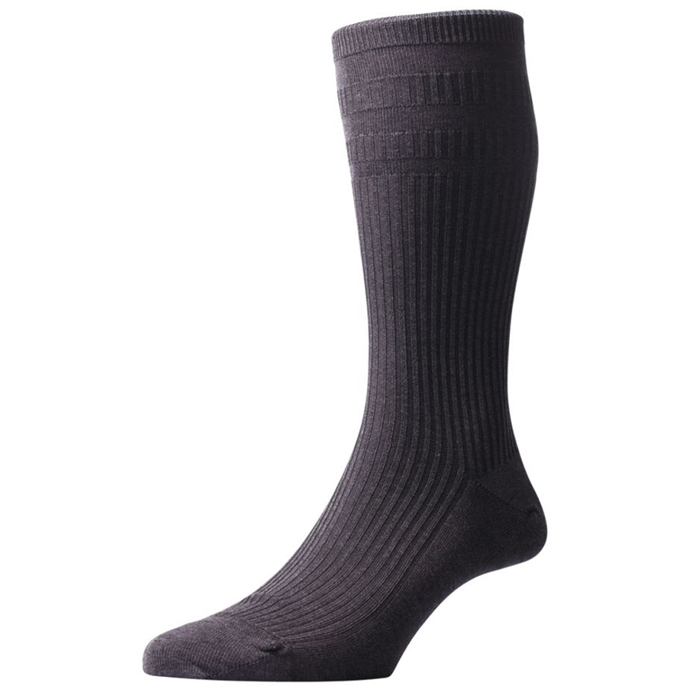 Ickburgh Graduated Rib with Relaxation Panels Non-Elastic Cotton Lisle Sock in Dark Grey Mix (3 Pair) by Pantherella