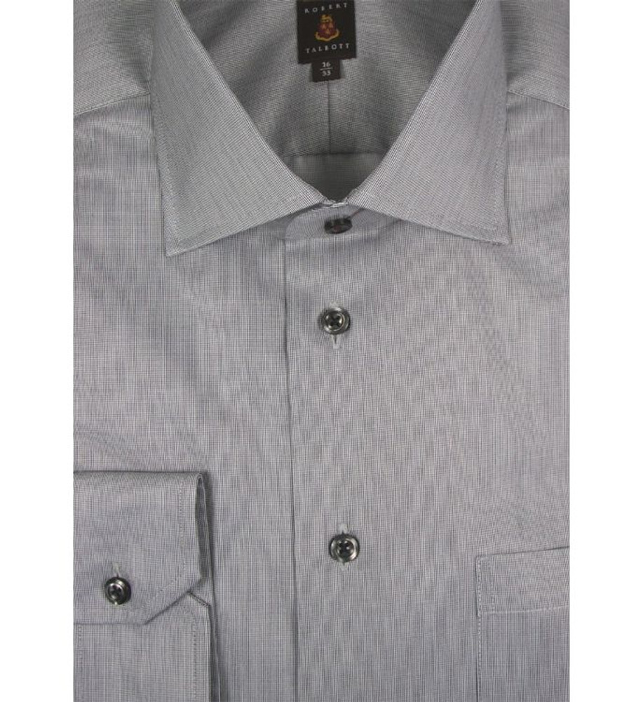 Black and White Tick Weave 'Made in Monterey' Dress Shirt (Size 17 - 33) by Robert Talbott
