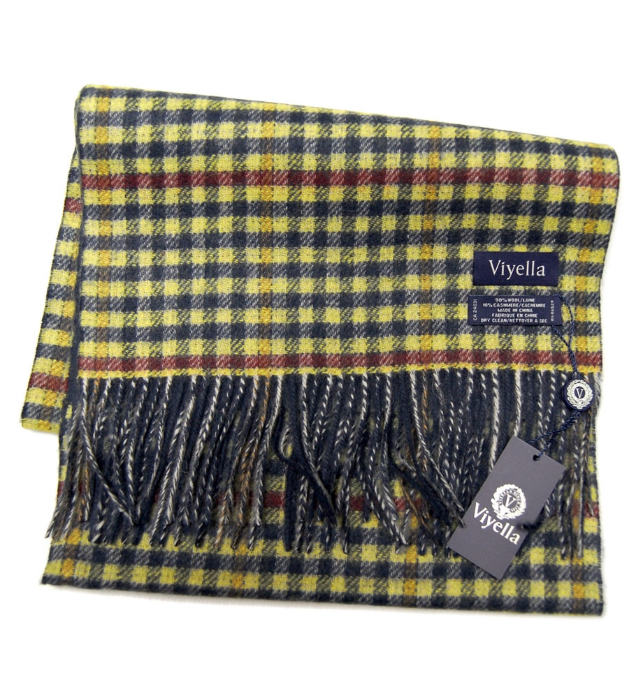 Dark Navy and Yellow Plaid Wool and Cashmere Scarf by Viyella