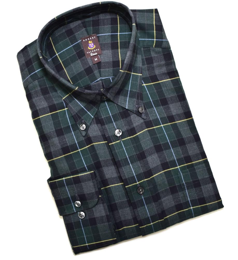 Charcoal, Hunter, and Black Plaid Cashmere Blend Estate Sport Shirt (Size Large) by Robert Talbott