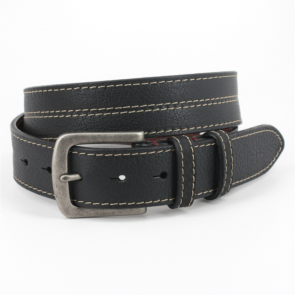 Oiled Shrunken Bison Leather Belt in Black by Torino Leather Co.