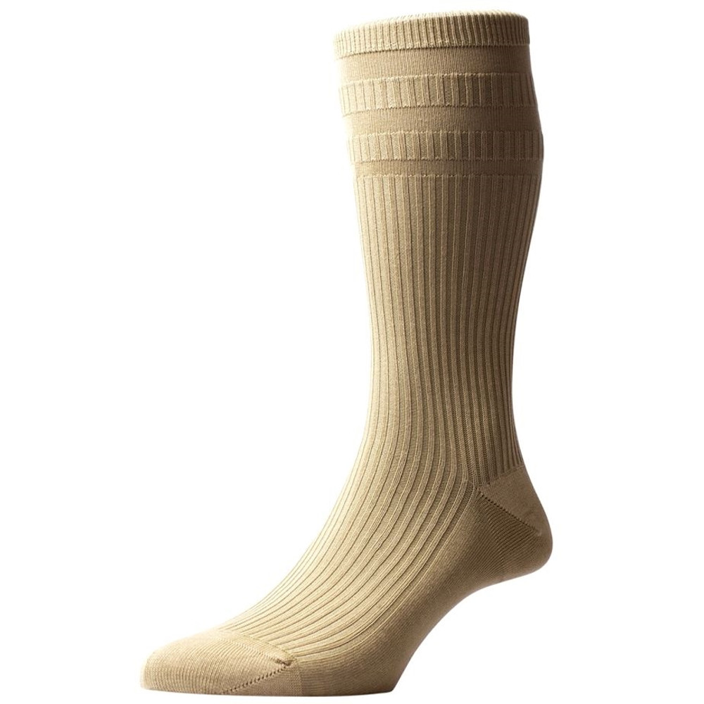 Ickburgh Graduated Rib with Relaxation Panels Non-Elastic Cotton Lisle Sock in Light Khaki (3 Pair) by Pantherella