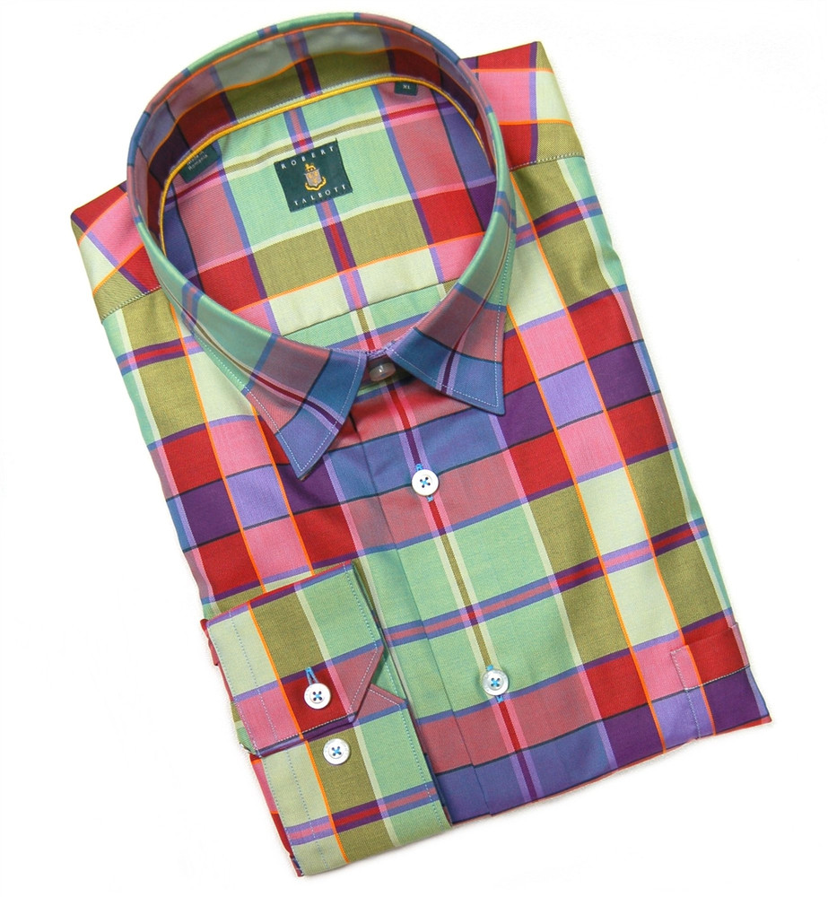 Bright Green, Red, and Purple 'Anderson' Check Sport Shirt by Robert Talbott