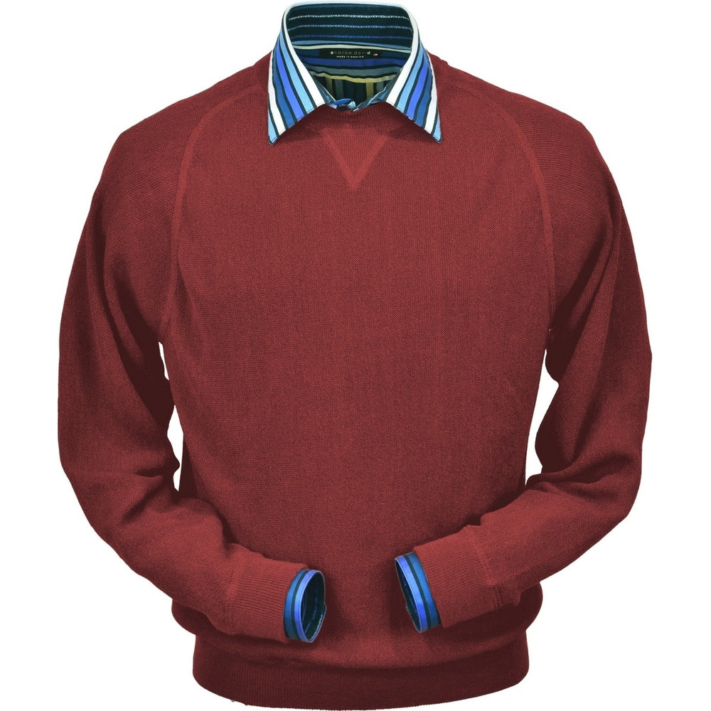 Baby Alpaca Link Stitch Sweatshirt Style Sweater in Rust by Peru Unlimited