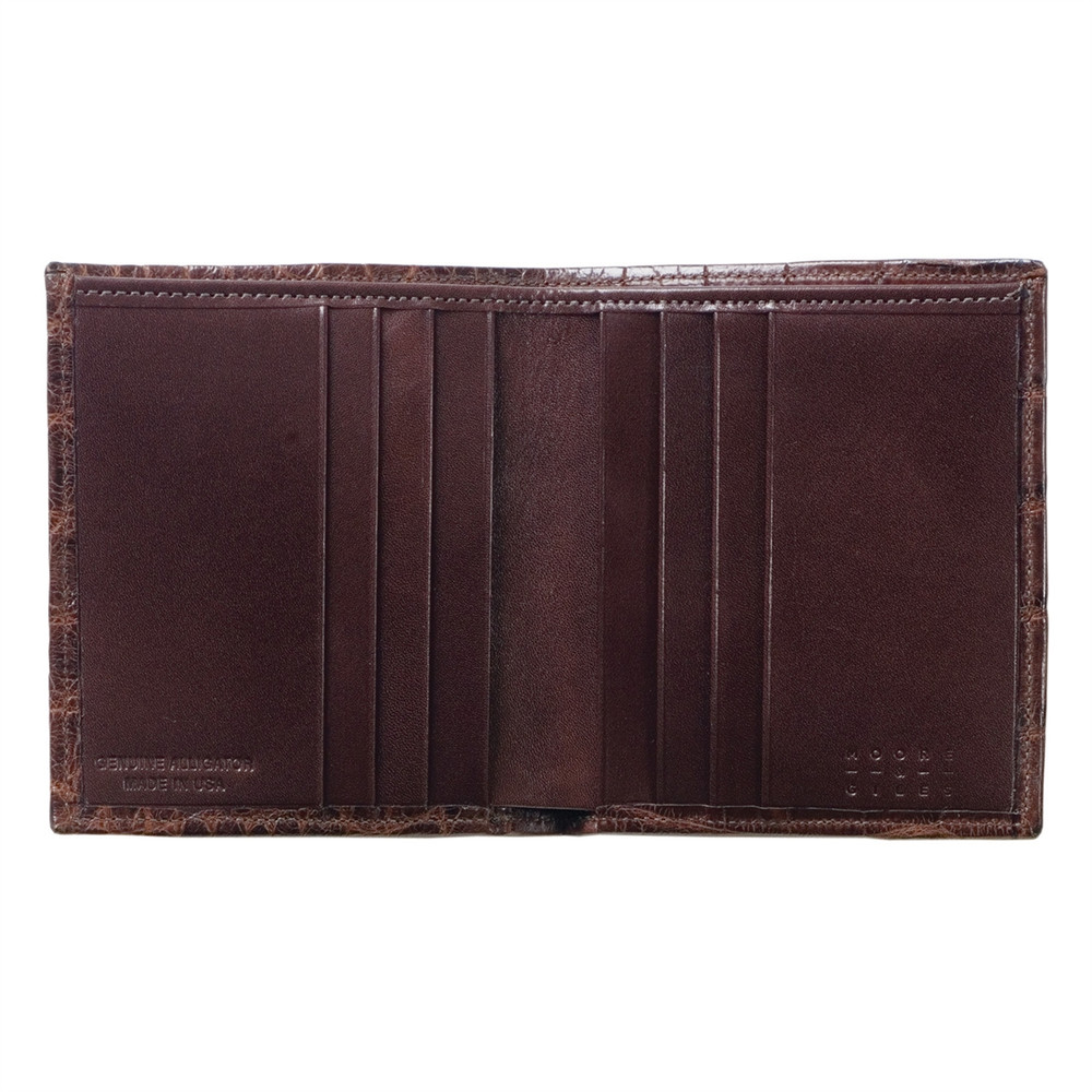 Compact Wallet in Chocolate Alligator by Moore & Giles