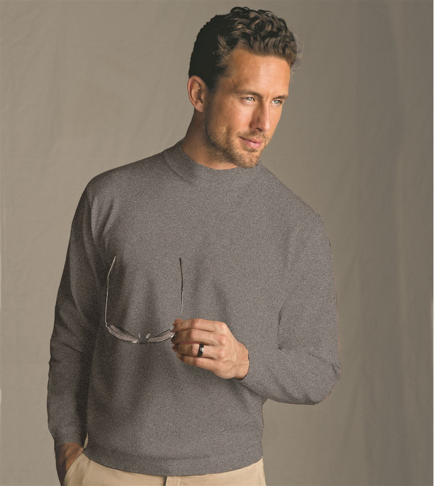 Techno-Cotton Mock Turtleneck in Silver Marl by St. Croix
