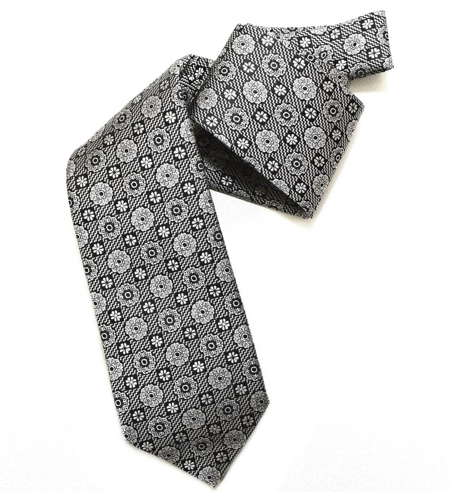 Black and Grey Floral Medallion Woven Silk Tie by Robert Jensen
