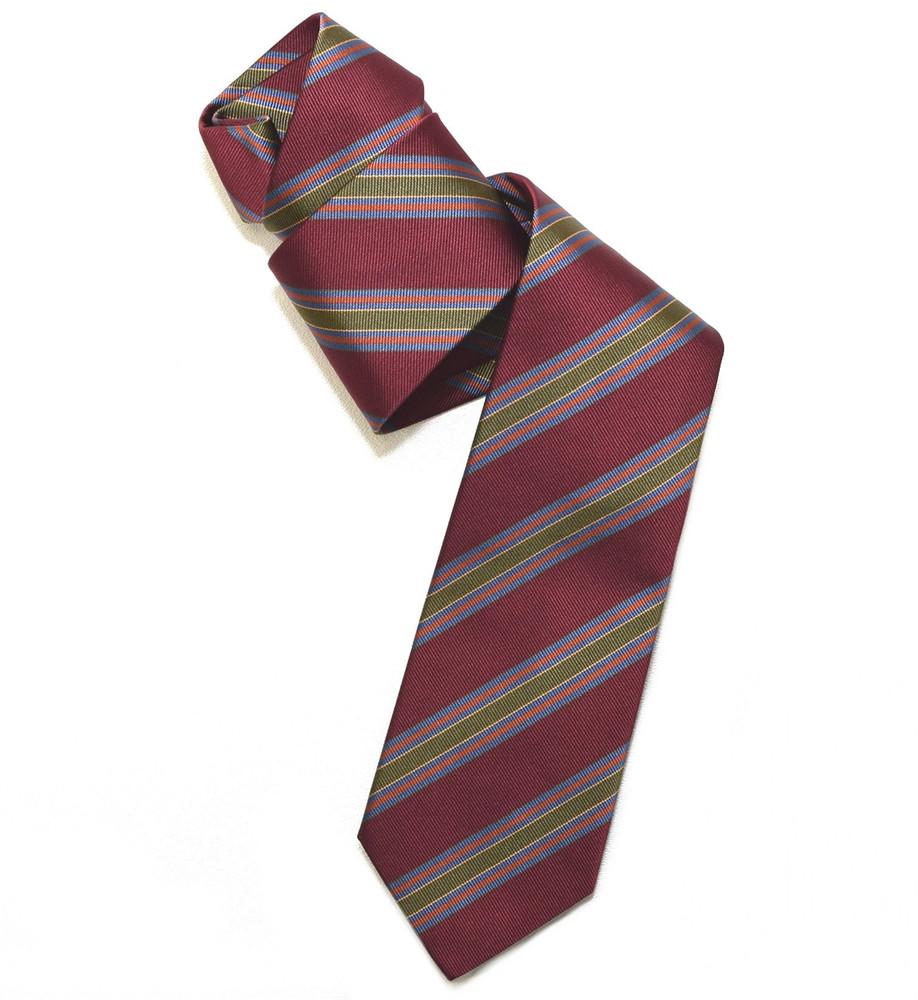 Burgundy, Olive, and Blue Repp Stripe Woven Silk Tie by Robert Jensen