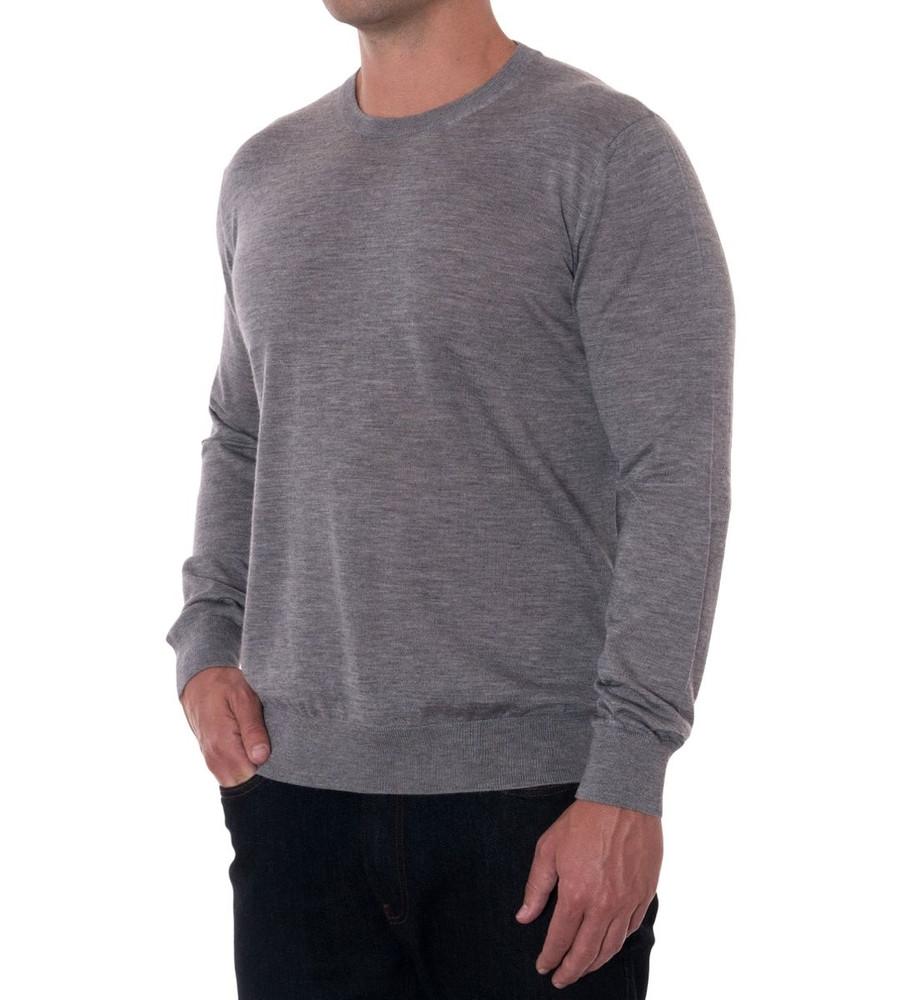 'Tolando' Cashmere Jersey Crew Sweater in Flannel (Size X-Large) by Robert Talbott