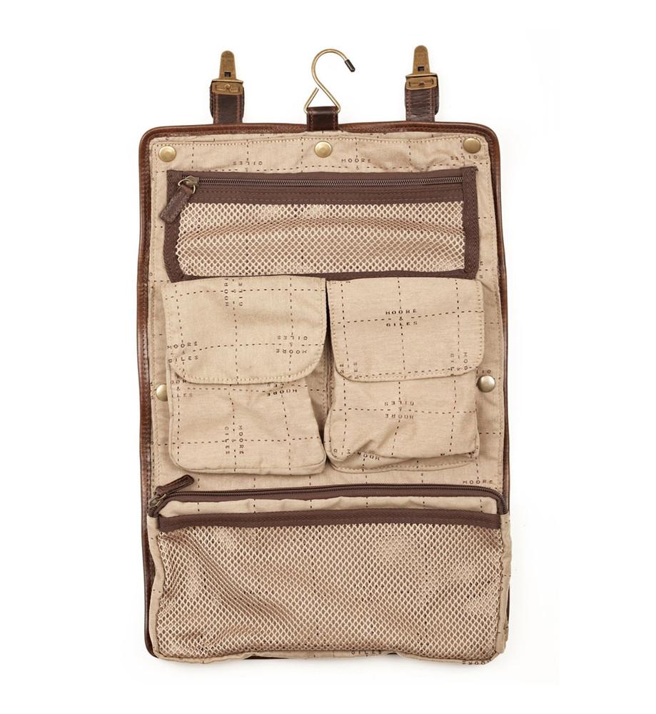 Austin Hanging Dopp Kit in Brompton Brown by Moore & Giles