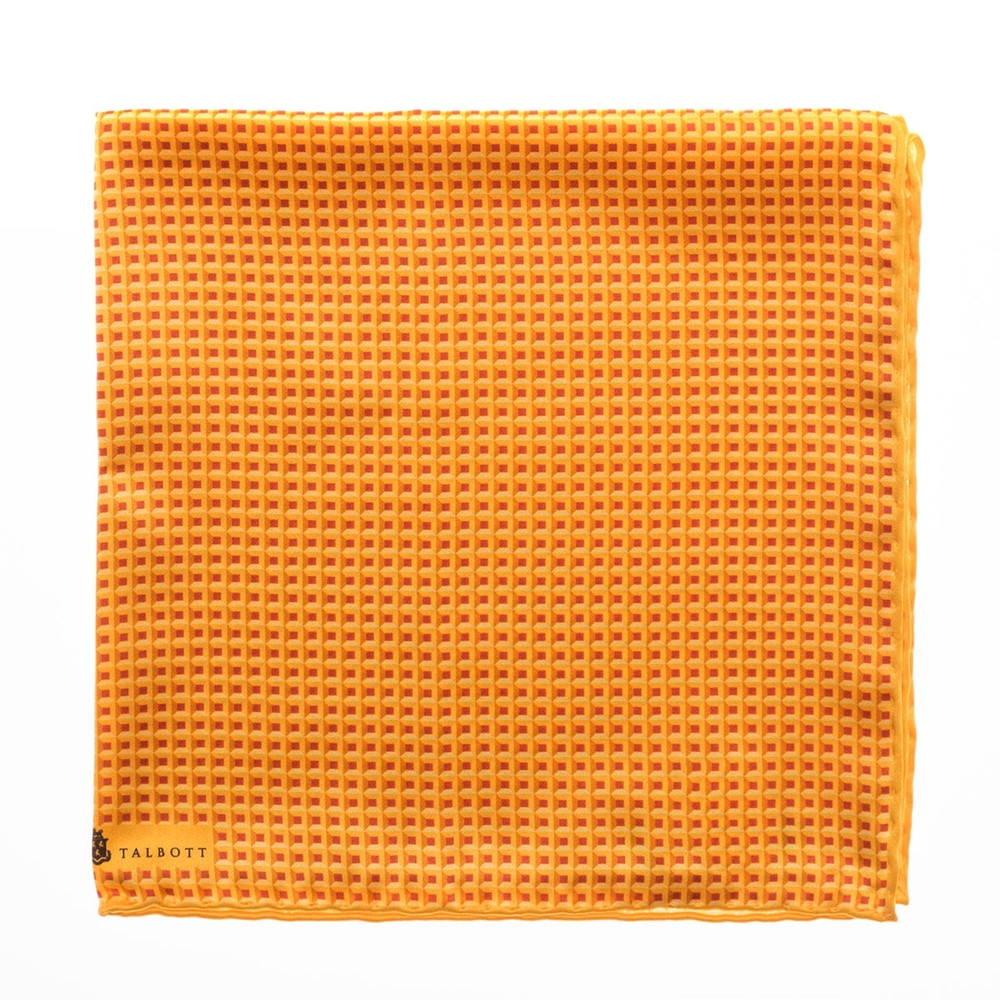 995606d580 Geometric Squares Silk Pocket Square in Gold by Robert Talbott