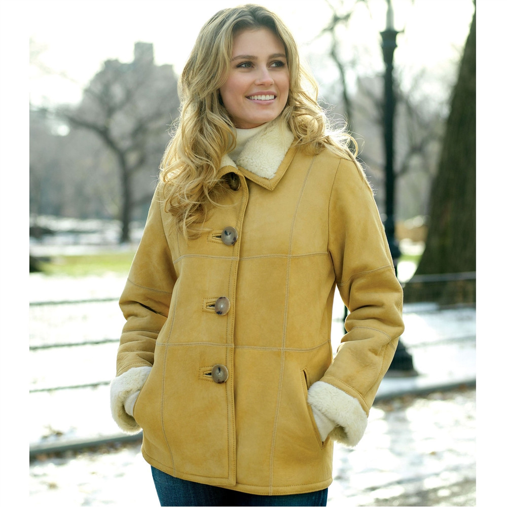 'Tina' Women's Babylamb Shearling Suede Jacket in Almond (Size Large) by Knight of New Zealand