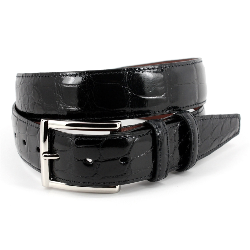 Genuine American Alligator Belt in Black by Torino Leather  Co.