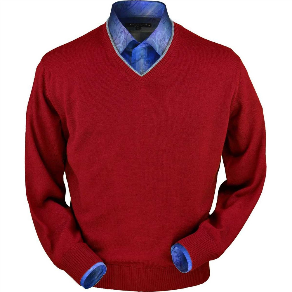 Royal Alpaca V-Neck Sweater in Red by Peru Unlimited