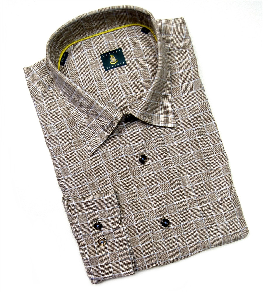 Brown and Sky Plaid Linen Sport Shirt by Robert Talbott