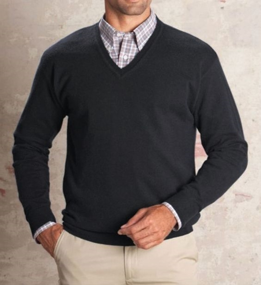 V-Neck Lambswool Sweater in Dark Charcoal by Pendleton