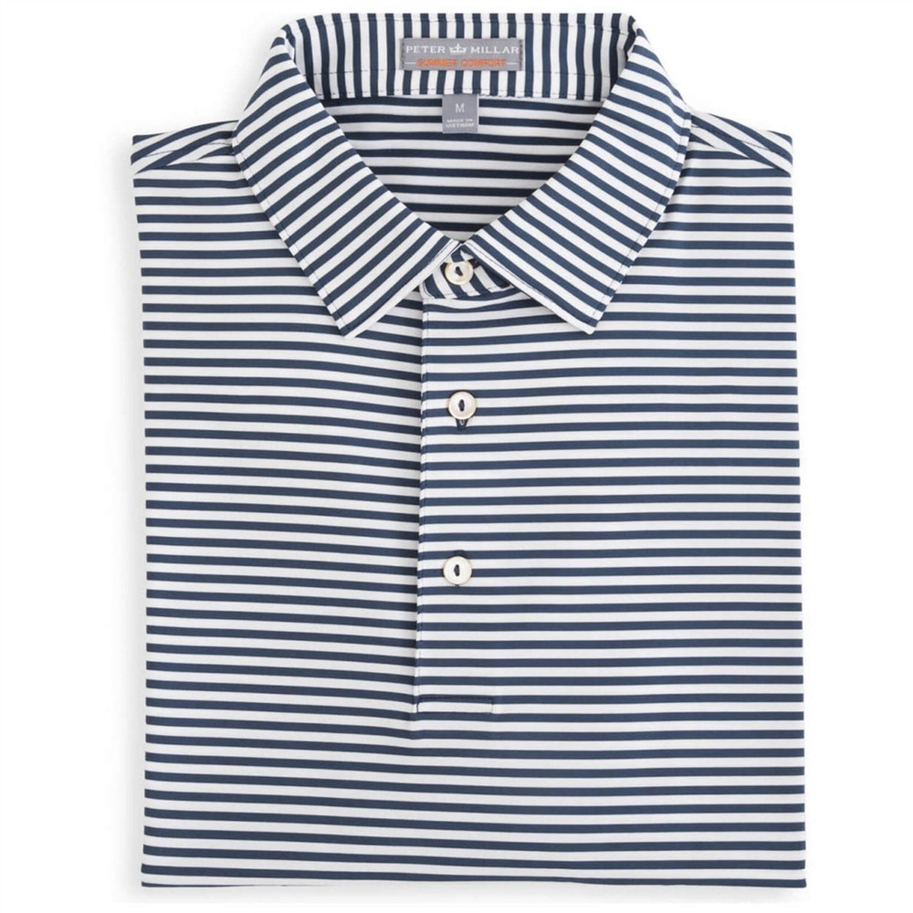 Competition Stripe E4 Summer Comfort Stretch Jersey Polo with Self Collar in Midnight by Peter Millar