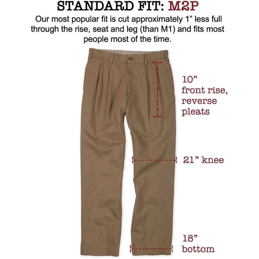 Lightweight Cotton Poplins - Model M2P Standard Fit Reverse Pleat in Khaki by Bills Khakis