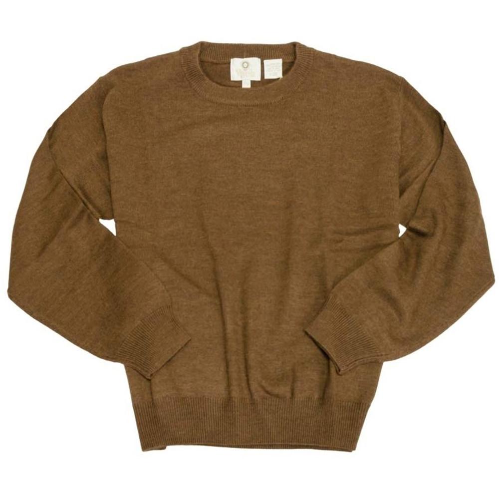 Merino Wool Crew Neck Sweater in Brown Melange by Viyella