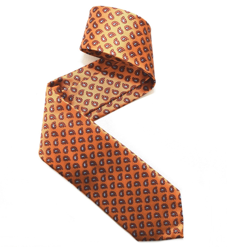 Orange, Black, and Sky Neat Paisley Woven Silk Tie by Robert Jensen