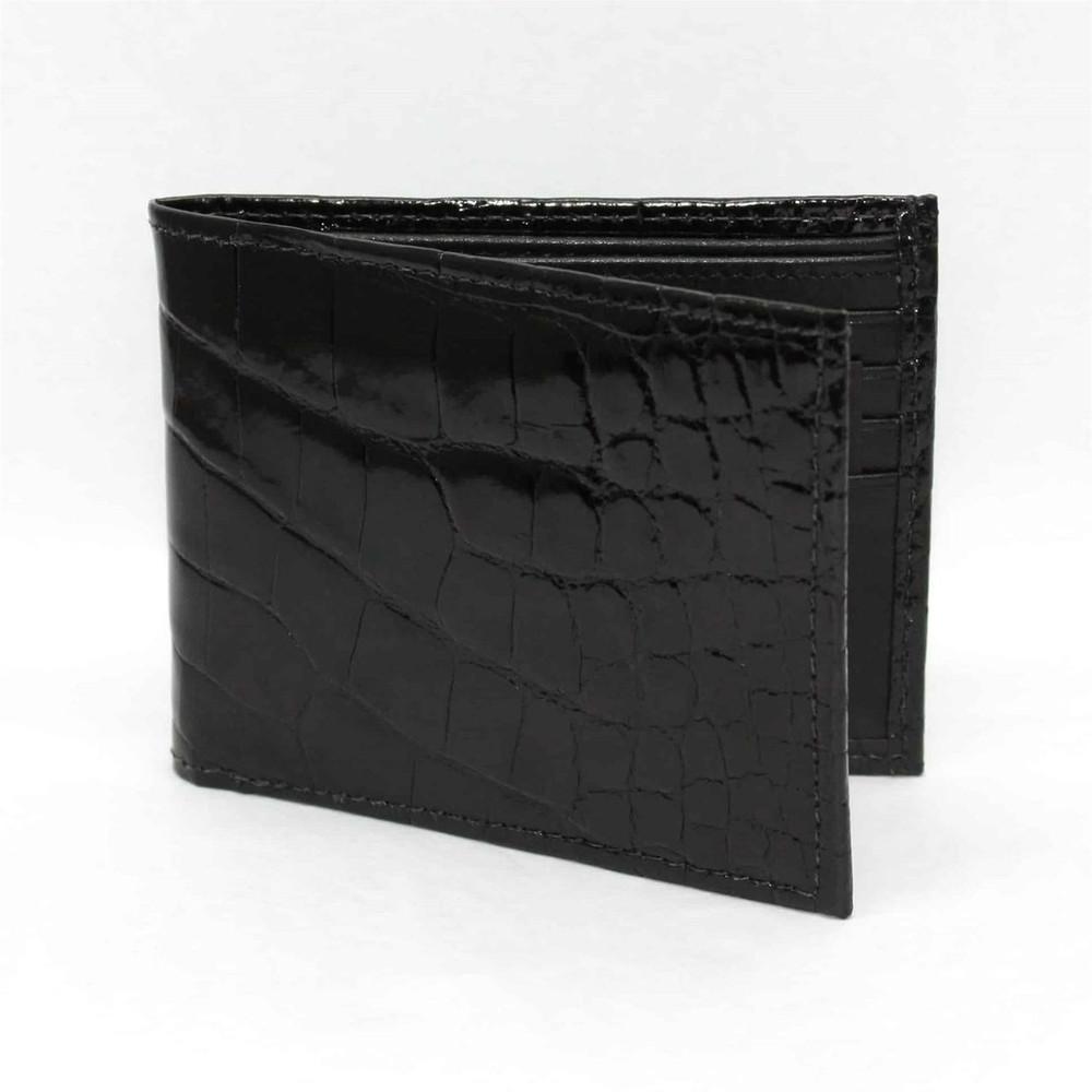 Genuine Alligator Billfold Wallet in Black by Torino Leather Co.