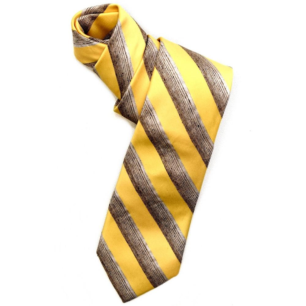 Best of Class Lemon and Tan 'Seasonal' Woven Cotton and Silk Blend Tie by Robert Talbott