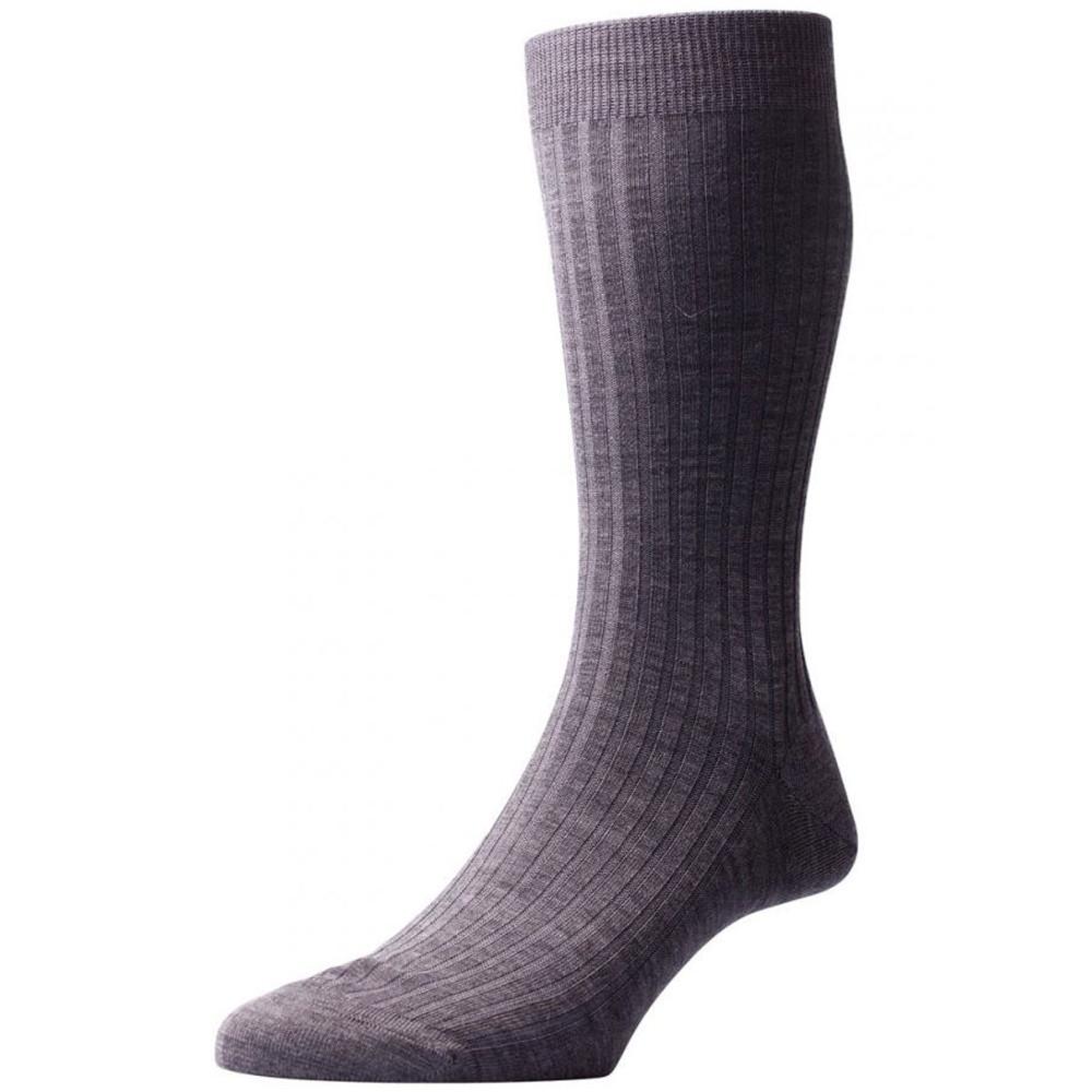 Laburnum - 5x3 Rib Merino Wool Sock in Dark Grey Mix (3 Pair) by Pantherella