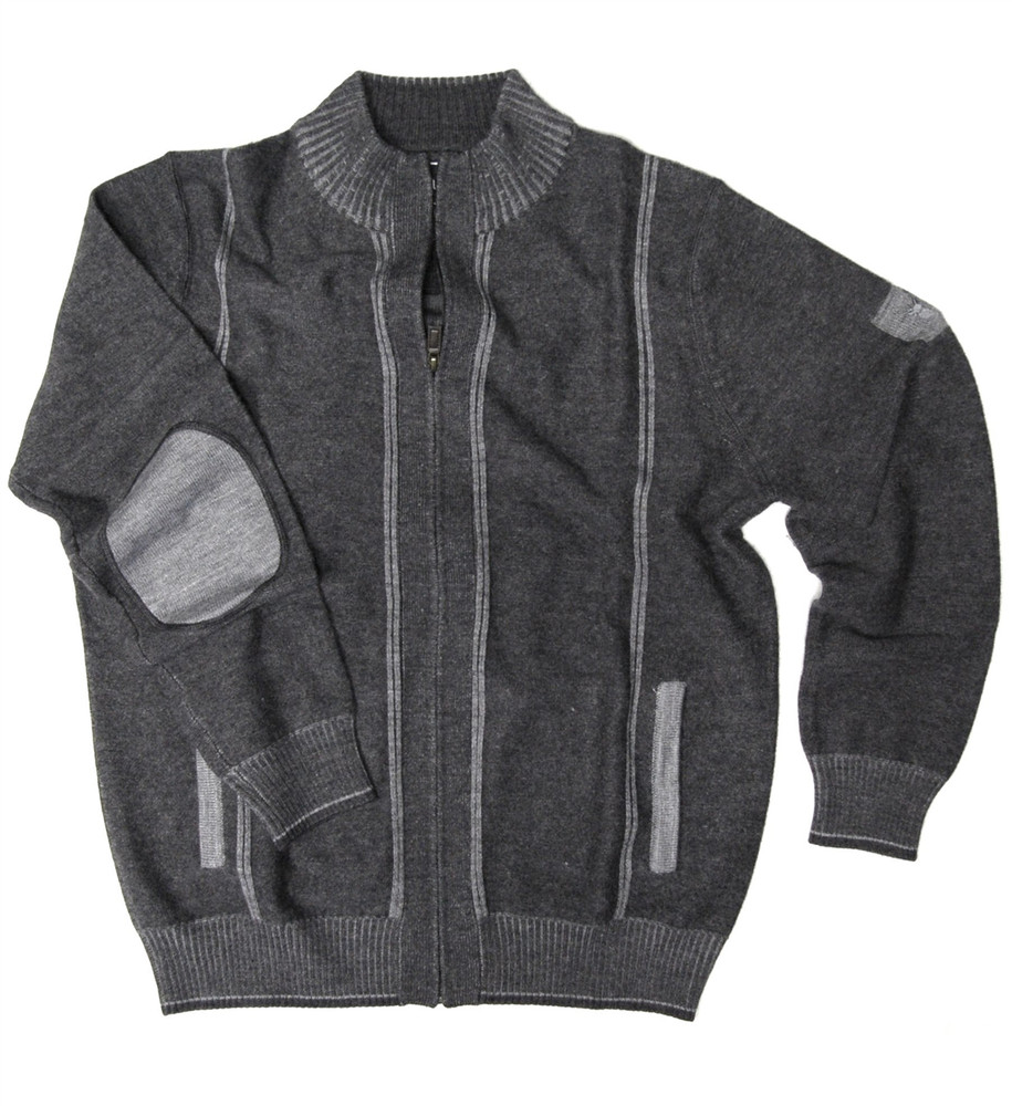 Boiled Wool Zip-Front Cardigan Sweater in Charcoal by Viyella