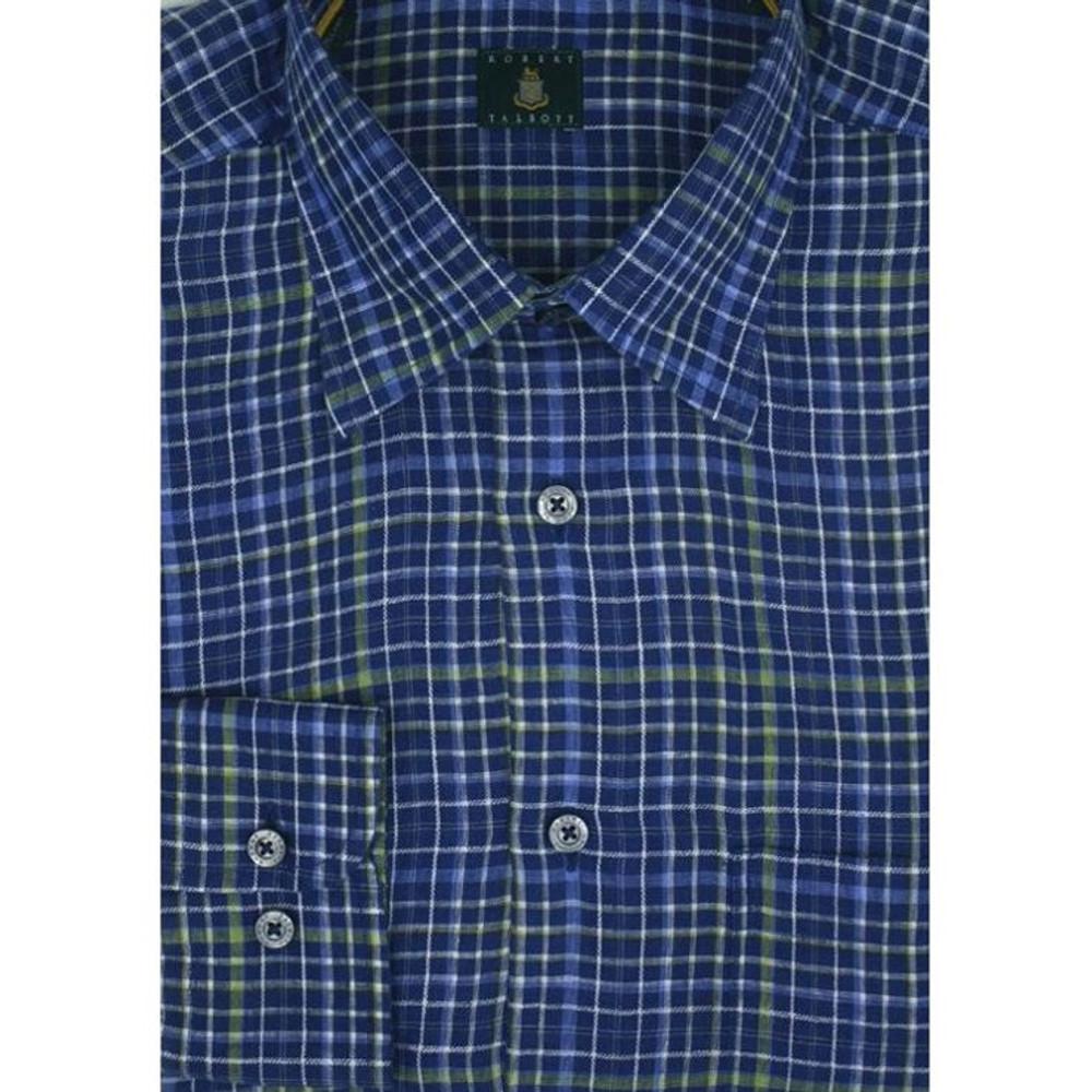 Blue Plaid Linen Sport Shirt (Size Large) by Robert Talbott