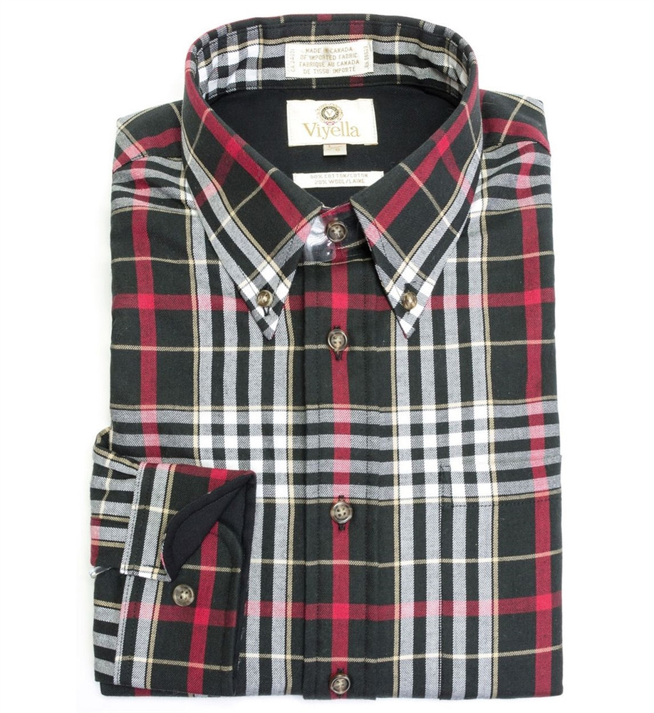 Black, Red, and White Plaid Button-Down Shirt by Viyella
