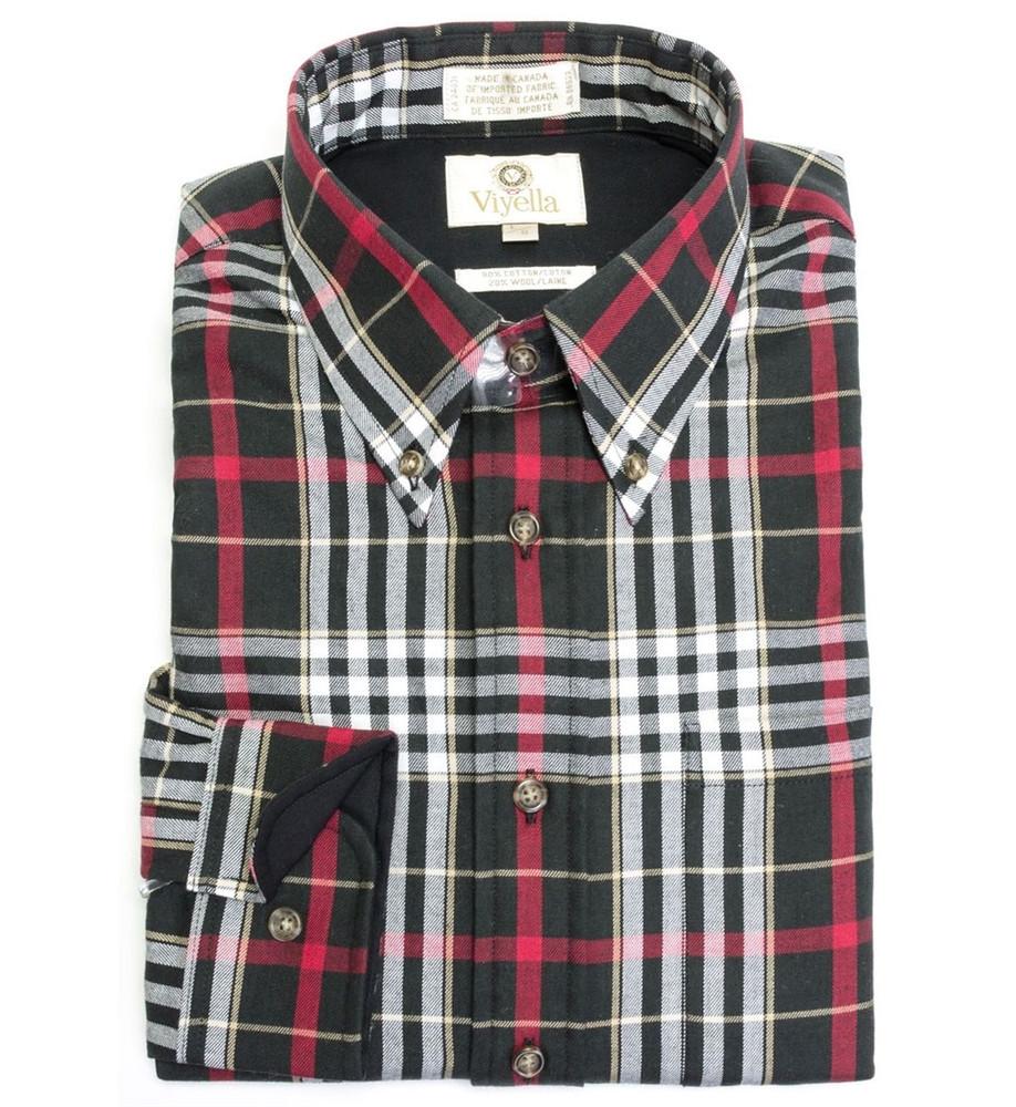Black, Red, and White Plaid Button-Down Shirt by Viyella