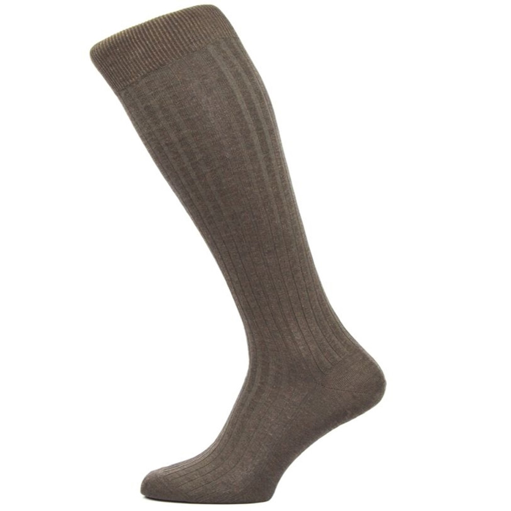 Danvers 5x3 Rib Cotton Lisle Over-the-Calf Sock in Dark Brown Mix (3 Pair) by Pantherella