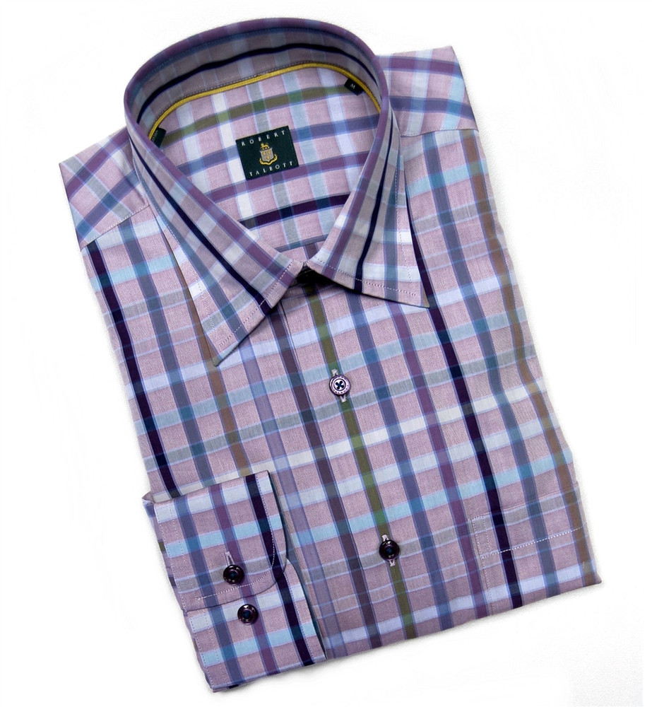 Lavender and Sky Plaid Sport Shirt by Robert Talbott